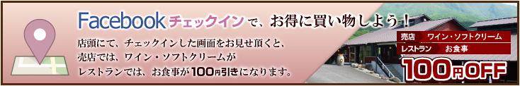 店頭にてfacebookチェックインしたことをご確認させていただくと、売店ではワイン・ソフトクリームが、レストランではお食事が100円引きになります。